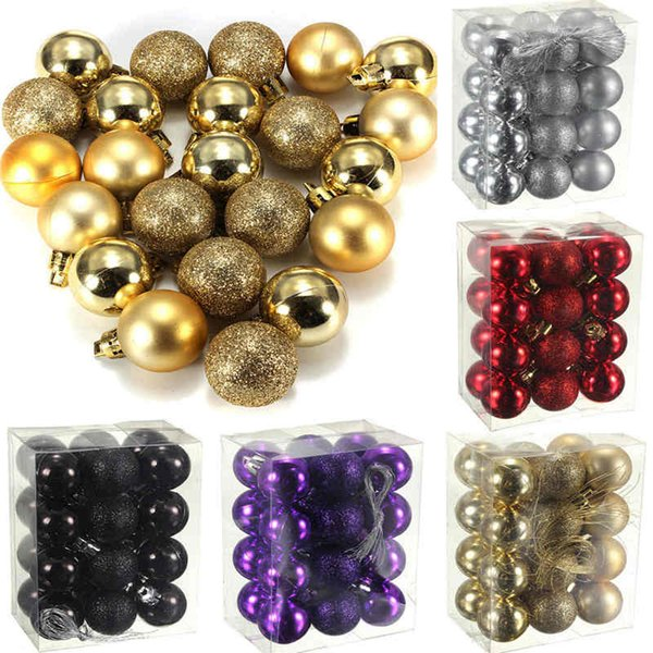 wholesale-sale new arrivals 24 pcs/set glitter chic christmas baubles ornament ball party home garden decor