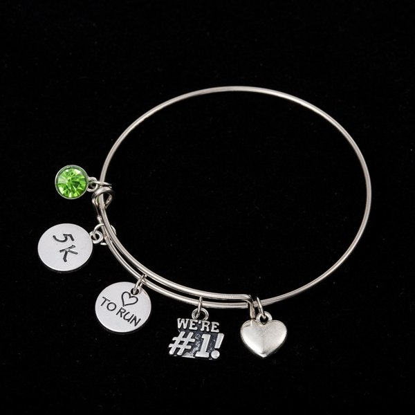 Myshape Cool Fashion Stainless Steel DIY Charms Bracelet To Run And 5K Sign Green Jewel Heart Pendant Bangle Wristbands For Special Friend