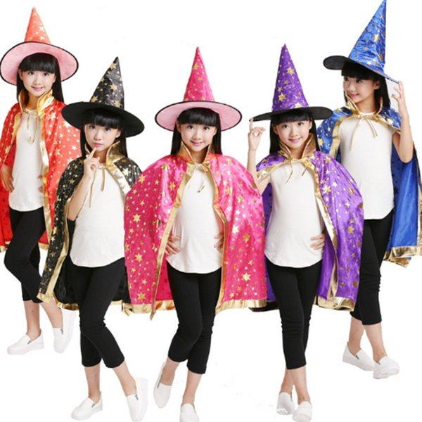 Children Halloween Costumes Witch Wizard Cloak Gown Robe and Hat Cap Fancy Prop for Christmas Costume Dress Kids Party Decoration