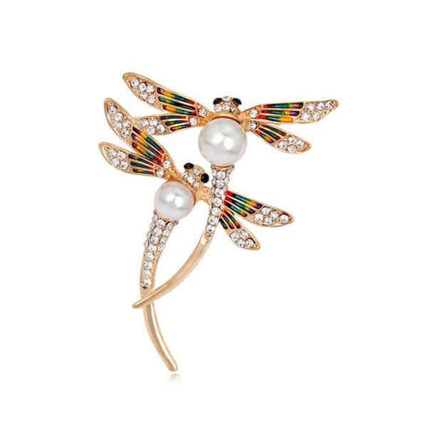 Insect Series High Grade Women Alloy Painted Enamal Rhinestone Pearl Brooches Pins Two Dragonfly Corsage Girl Jewelry Accessory