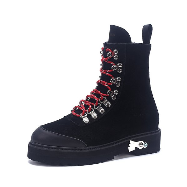 Fashion Genuine leather rivets women shoes ankle skull For women Boots and Brand quality Black with boots for girls . XDX-040