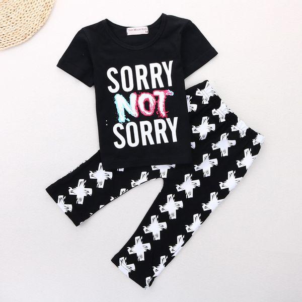 Brand New 2017 Summer Baby Boys Clothes Sets Children T-Shirts Pant 2pcs Clothing Suit Kids Tees Shirts Black Haren Trouser