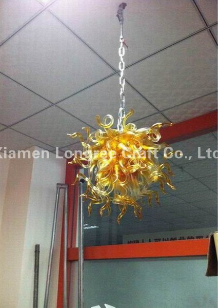 Amber Colored Blown Glass Chandelier Light Small Size and Cheap Pendant Lamps Chihuly Style Murano Glass Hanging LED Chandelier for Decor