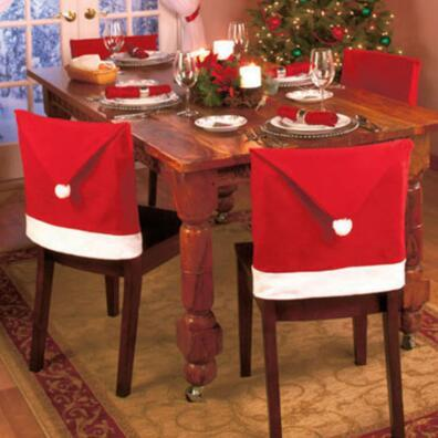 christmas Chair Covers Santa Clause Red Hat for Dinner Decor Home Decorations Ornaments Supplies Dinner Table Party Decor CCA7438 120pcs