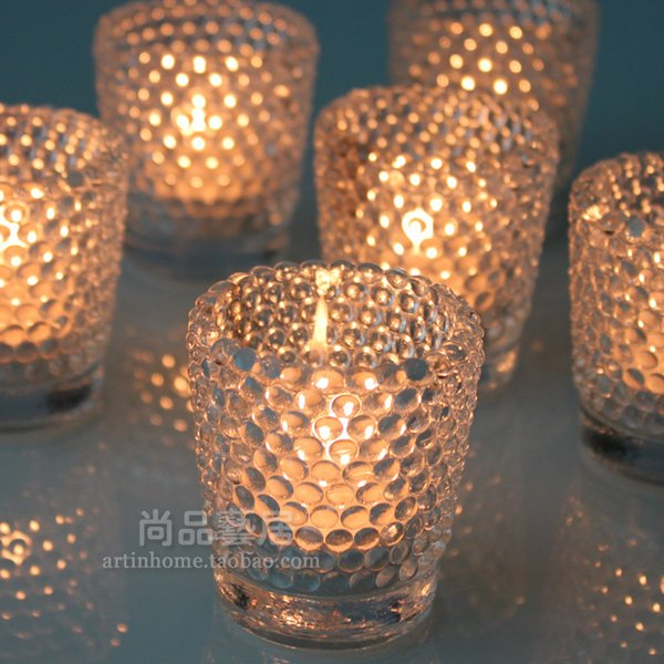 Glass Candlestick Circular Wave Cup Fashion Home Furnishing Decorate European Colorful Candle Holders Hot Sell 4 5ty R