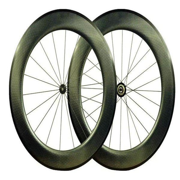 2018 New style road bike carbon wheels 80mm dimples surface taiwan bicycle carbon wheels 700C 25mm V brake dimpled wheelset free shipping