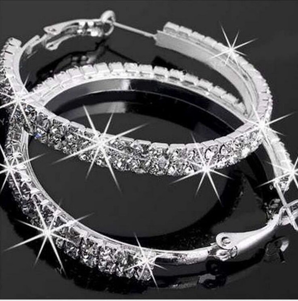 top popular 20pair Big Round Earrings crystal silver Color Fashion Jewelry Wholesale Diameter Large Hoop Earrings Women mix designs F352 2019