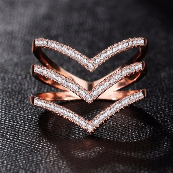 new fashion female wedding ring for women bands jewelry rose gold color engagement cz stone paved - Female Wedding Rings