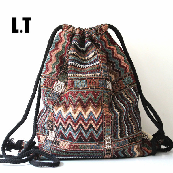 Wholesale- 2017 Women Vintage Backpack Female Gypsy Bohemian Boho Chic Aztec Folk Tribal Ethnic Fabric Brown String Drawstring Backpack Bag