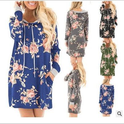 Dresses Winter Floral Hooded Dress Autumn Long Sleeve Dresses Print Pocket Dress Fashion Casual Dress Flowers Blusas Women's Clothing C3080