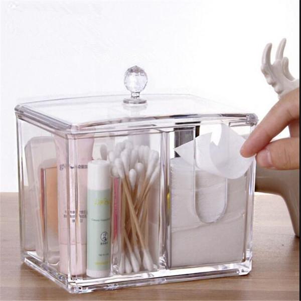 Transparent Crystal Acrylic Cotton Swabs Storage Box Cosmetics sample lipstick cotton pad Creative Desktop storage boxes