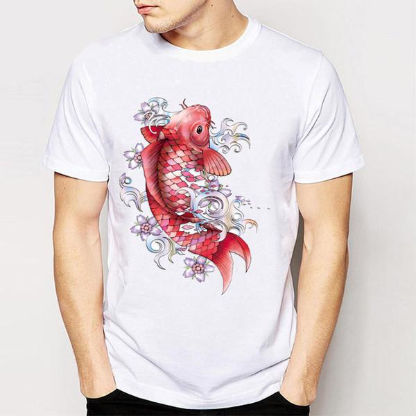 Marke + 2017 Neue Trend Sommer Frische Harajuku Tees Männer Kurzarm Nette Rote Glaskarpfen Print Tops Cool Boy T-shirt