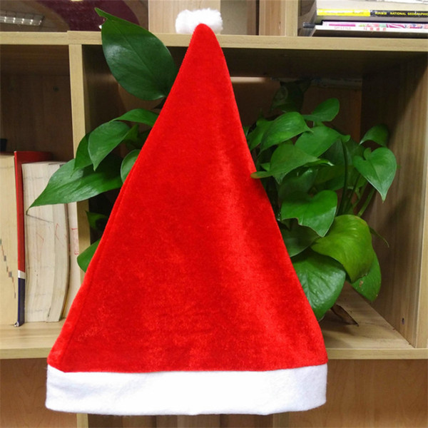 Cappello rosso di Babbo Natale 38 * 27 cm Ultra morbido Pleuche Natale Cosplay Cappelli Decorazione natalizia per bambini adulto cappello di Natale