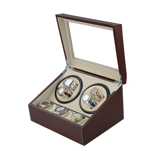 best selling Fedex shipping brown Automatic watch winder 4 slient motor box for watches mechanism cases with drawer storage display watches