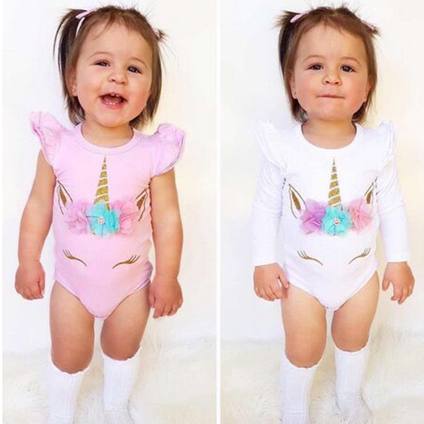 top popular Unicorn baby girl romper cotton kid jumpsuit clothing pink white long short sleeve body suit ruffle sleeve cute girls toddler rompers suits 2019