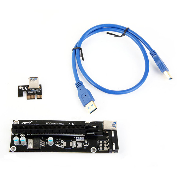 best selling PCIe PCI-E PCI Express Riser Card 1x to 16x USB 3.0 Data Cable SATA to 4Pin IDE Molex Power Supply for BTC Miner Machine