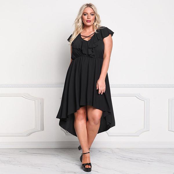 2017 women fashion casual plus size dresses otus sleeve short before long irregular long skirts big European and American waist dress