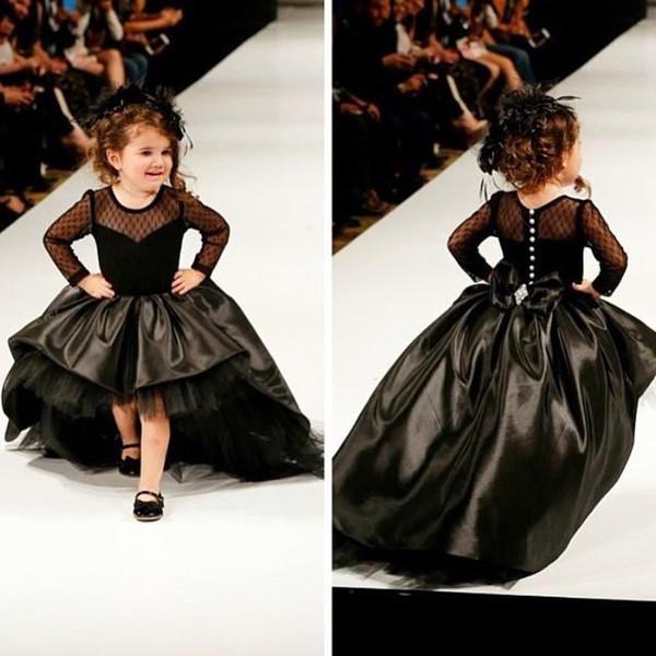 A buon mercato In magazzino Cupcake Princess Ball Gown Black Taffettà High Low Girl Pageant Abiti con maniche lunghe Moda bambini Abiti da ballo formale Prom Gowns