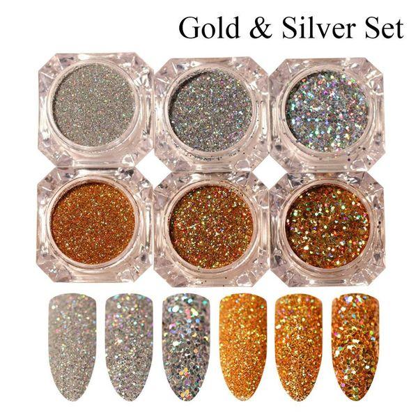 top popular 3pcs 6pcs Fashion Shinning Gold Silver DIY Manicure Nail Art Dust Glitter Paillette Laser Powder Sequins 2020