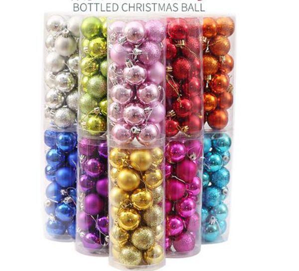 24pcs/box Christmas tree Ornament Plastic ball home Christmas tree Inferior smooth light Decoration ball for Christmas