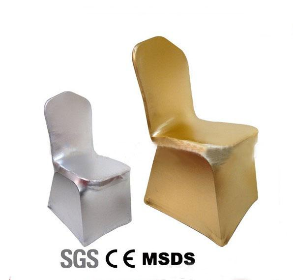 Altın sandalye örtüsü, metalik altın ve gümüş spandex, 220 gram, takviyeli elastik ayaklar cep, düz ön, düğün için en iyi kalite