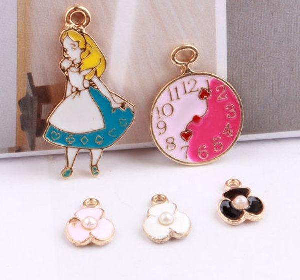 20PCS, esmaltado menina / flor / relógio pingente charme, resultados da jóia
