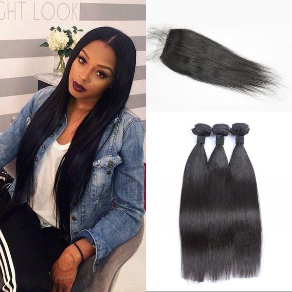 4 pcs/lot Silk Base Closure with Bundles Straight Virgin Hair Weaves with Closure Malaysian Human Hair Extensions No Tangle FDSHINE HAIR