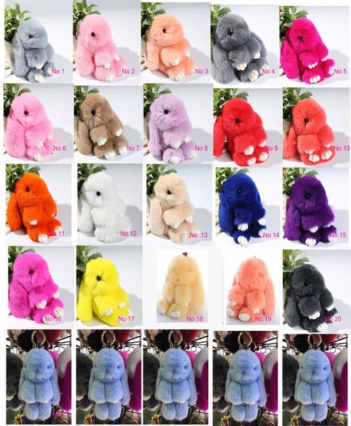 New Pom Pom Mini Car Rex Play Dead Rabbit Key chain 21Colors Fur Car Backpack Rabbit Doll Pendant Fashion Toys Wallet Handbag Bag Pendant