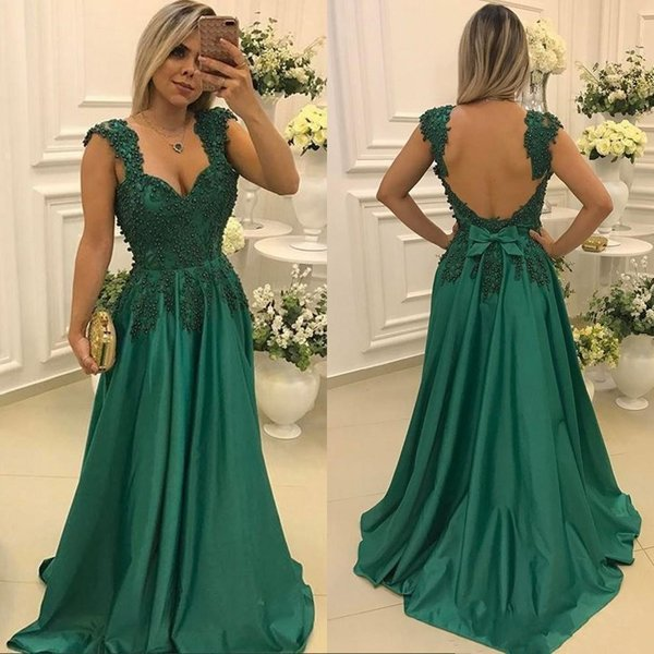 2017 Dark Green A Line Prom Dresses Luxury Lace Appliques Formal Evening Dress Sexy Backless Party Gown With Pearls