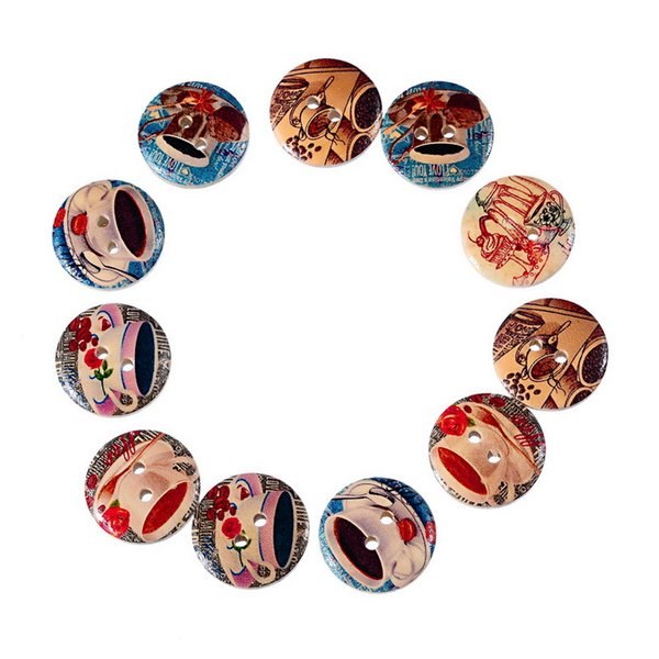 chaotic natural wooden buttons paint coffee tea pattern double wooden buttons 20mm-50pcs button clothing wood button jewelry