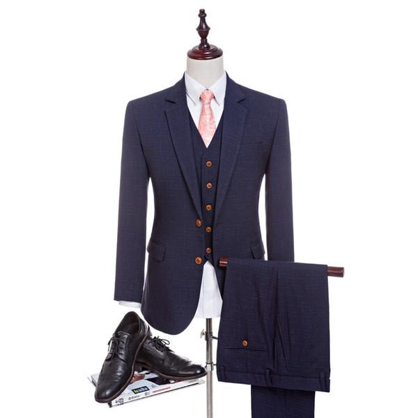 Neue 4 Farben Hohe Qualität Kammgarn Marineblau Anzüge Herrenanzüge Maßgeschneiderte Anzug Slim Fit Hochzeitsanzug Für Männer (Jacke + Hose + Weste)
