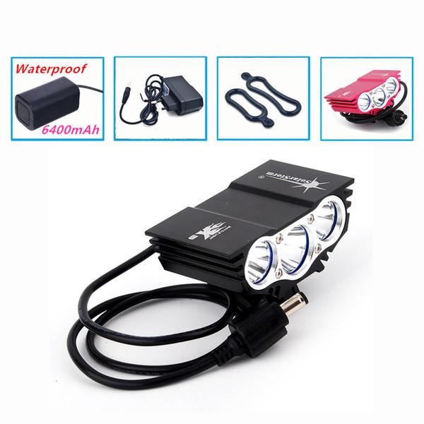 Lumière De Vélo 6000 Lumens 4 Mode XM-L T6 LED Cyclisme Lumière Avant Vélo s'allume Lampe Torche + Pack Batterie Imperméable + Chargeur