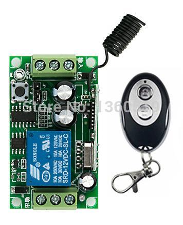 Wholesale- New DC12V 1CH 1Channe RF wireless remote control switch System, 1X Transmitter + 1 X Receiver,315/433 MHZ window/Garage Doors