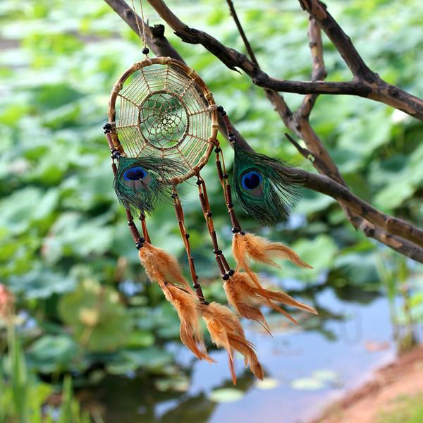 Pavo real Feather Dream Catcher Colgante de pared hecho a mano Colgante de coche Decoración para el hogar Ornamento Decoración Ornamento Artesanía Regalo Adornos de moda B894Q