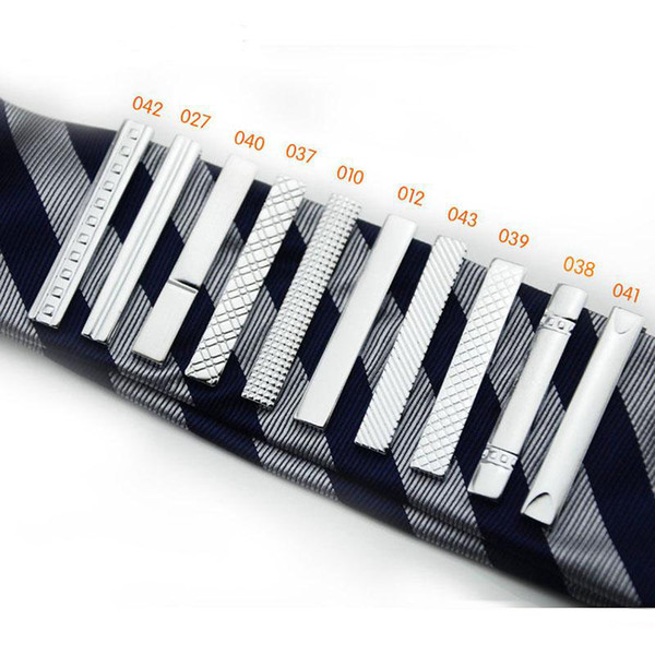 top popular Long 4 CM 10 model High quality retail short Silver Men Metal Necktie Tie Bar Mens Chrome Clamp Plain Skinny Tie Clip Pins Bars 2021