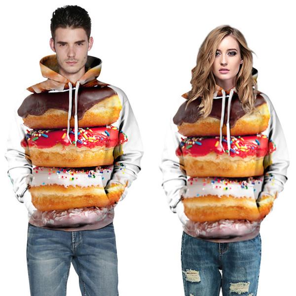 Creative digital 3d printing sweatshirts will hoodies cute donut couple set personality mens plus size loose sweatshirts women clothes