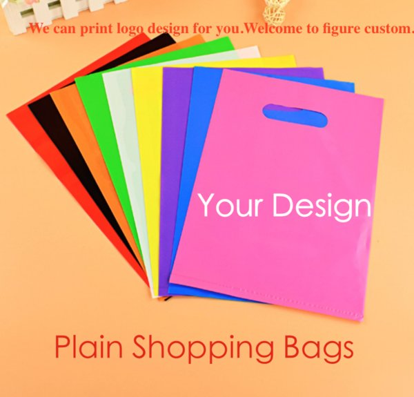 top popular plain color PE cloth bags blank shopping bags plastic packaging bag can custom print company design advertising gift bags wholesale 2019