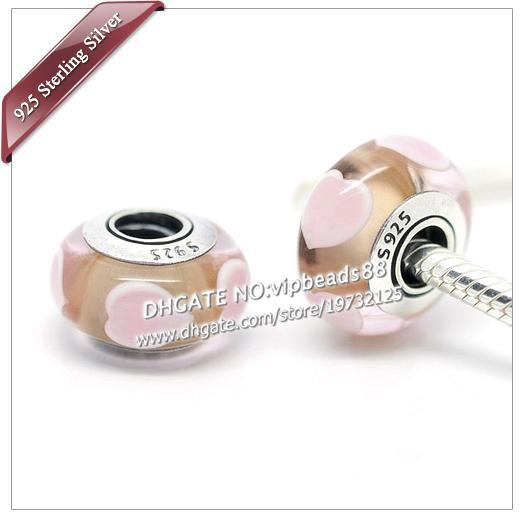 S925 Sterling Silver jewelry light pink love Murano Glass Beads Fit European DIY pandora Charm Bracelets & Necklace
