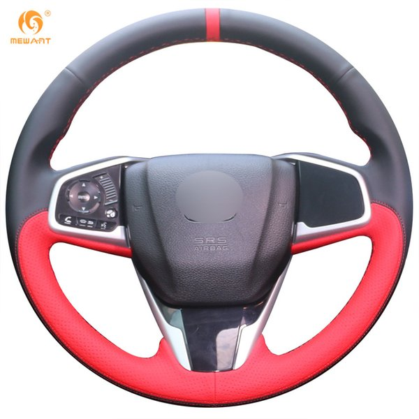Mewant Black Leather Red Leather Car Steering Wheel Cover for Honda Civic Civic 10 2016
