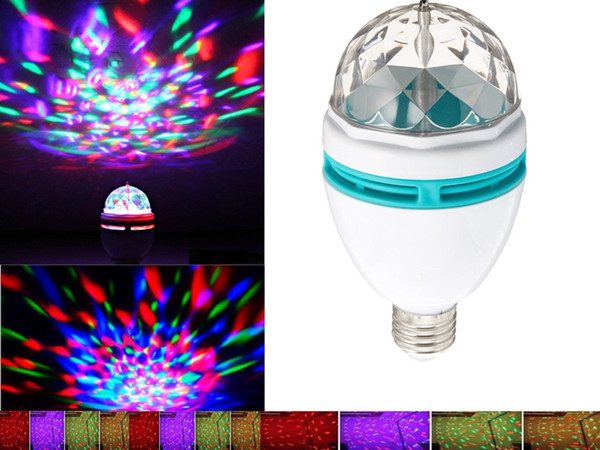 Magic RGB Full Color 3W E27 LED Bulb Crystal Auto Rotating Stage Effect DJ Light Bulb Mini Laser Stage Light Projector DISCO PARTY KTV 6pcs