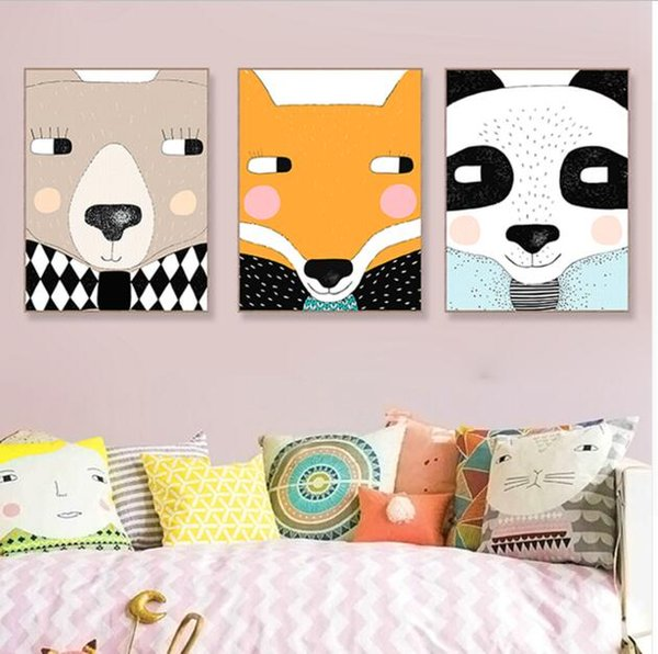 Mignon Animal Face Panda Ours Fox Toile Grand Art Affiche Gravures Mur Photos Moderne Nordic Enfants Chambre Home Decor Peintures No Frame