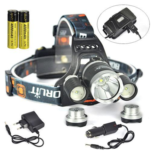 Black Color BORUiT 13000LM 3x XML T6+2R5 LED Headlamp Headlight Torch USB Lamp+Charger+4000mAh 18650 Rechargeable Battery