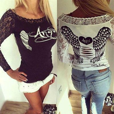 Großhandels-New Bird Wing Shirt Mode Damen Langarm Shirt Casual Spitze lose Baumwolle Tops T-Shirt