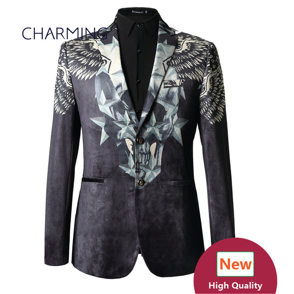 mans suits (top) 3D printing high quality velvet fabric Groom dress formal occasions young mens suits