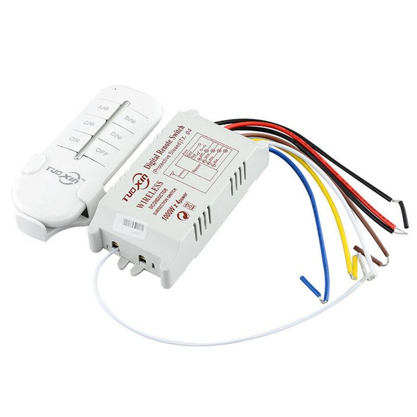 Wholesale- Hot 4 Way Channel Universal Remote Control Wireless Switch AC 220V 240V ON/OFF For Light Lamp Splitter With Transmitter