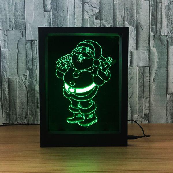 3D Christmas Santa LED Photo Frame IR Remote 7 RGB Lights Battery or DC 5V Factory Wholesale Dropship Free Shipping