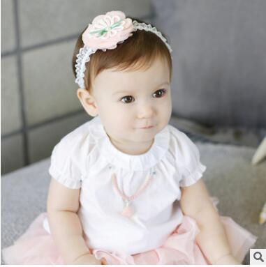 Das reizende elastische Band der Perlenspitze-Bowknotblumen-Haarbänder des Babys für Stirnbänder drei Farben kann wählen