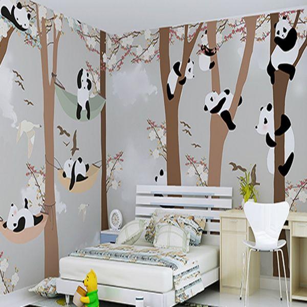 Grosshandel Freies Verschiffen 3d Stereo Benutzerdefinierte Kinderzimmer Tapete Jungen Madchen Schlafzimmer Cartoon Netter Panda Wandbild Tapete Von