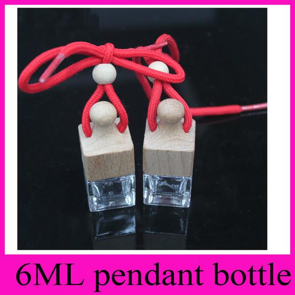 Stick perceuse bricolage 6 ml bouteille vide Quartet bouteille transparente voiture ornements bouteilles de parfum de voiture en verre suspendu carré cube pendentif
