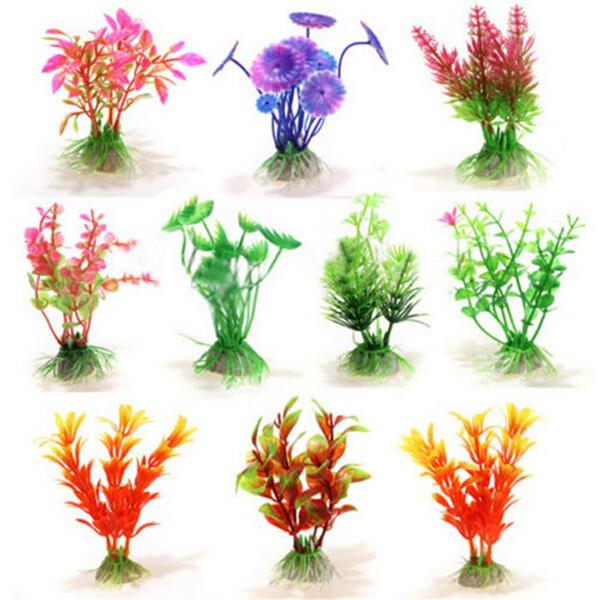 10pcs / plantas Lot pequeno Multri-color artificial aquário plantas aquáticas Paisagem Ornamento plástico decoração grama planta tanque de peixes Decor